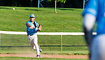 PROSPECT, CT 072231JS19 Torrington's Kyle Matthews (11) throws to first base after fielding a ground ballduring the first round of the Tri-State Baseball Playoff game with  Blasius Chevrolet  Friday at Hotchkiss Field in Prospect. <br /> Jim Shannon Republican American