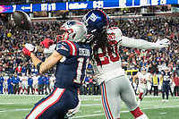 FOXBORO, MA - OCTOBER 10: New York Giants Cornerback Janoris Jenkins (20) blocks a pass to New England Patriots Julian Edelman Wide Receiver (11) during a game between New York Giants and New England Patriots at Gillettes on October 10, 2019 in Foxboro, Massachusetts.
