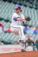Texas Christian Horned Frogs starting pitcher Brandon Finnegan #29 in action against the Sam Houston State Bearkats at Minute Maid Park on February 28, 2014 in Houston, Texas.  The Bearkats defeated the Horned Frogs 9-4.  (Brian Westerholt/Four Seam Images)