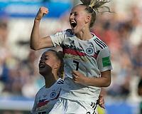 GRENOBLE, FRANCE - JUNE 22: Lea Schueller #7 goal celebration during a game between Nigeria and Germany at Stade des Alpes on June 22, 2019 in Grenoble, France.