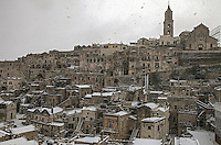 Europe,Italy,Basilicata, Matera, capital of Culture, World Heritage Site, unusual snow in Sassi