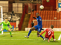 11th February 2021; Oakwell Stadium, Barnsley, Yorkshire, England; English FA Cup 5th round Football, Barnsley FC versus Chelsea; Antonio Rudiger of Chelsea defends against Cauley Woodrow of Barnsley on the edge of the box