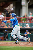 Hartford Yard Goats third baseman Josh Fuentes (13) follows through on a swing during a game against the Erie SeaWolves on August 6, 2017 at UPMC Park in Erie, Pennsylvania.  Erie defeated Hartford 9-5.  (Mike Janes/Four Seam Images)