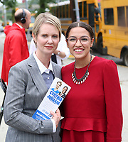 Cynthia Nixon Democratic candidate for governor<br /> Alexandria Ocasio-Cortez Democratic candidate for the 14th Congressional District <br /> came out to PS 304 to meet parents as they picked up their children.