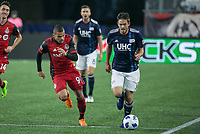 Foxborough, Massachusetts - May 12, 2018:  The New England Revolution (blue/white) beat the Toronto FC (red) 3-2 in a Major League Soccer (MLS) match at Gillette Stadium.