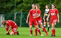 Loredana Humartus (3) of Standard congratulates Davinia Vanmechelen (10) of Standard  for the goal during a female soccer game between Standard Femina de Liege and Eendracht Aalst dames on the fourth matchday in the 2021 - 2022 season of the Belgian Scooore Womens Super League , Saturday 11 th of September 2021  in Angleur , Belgium . PHOTO SPORTPIX   BERNARD GILLET