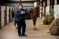 FAO Laura Lean.<br /> Friday 20 January 2017<br /> Pictured: Sue Scourfield pictured with Jack the horse at the stables <br /> Re: Sue Scourfield's riding school is  being hit by increasing business rates.