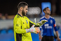 SAN JOSE, CA - MAY 12: Alex Roldan #16 of the Seattle Sounders dons goal keeper's gloves during a game between San Jose Earthquakes and Seattle Sounders FC at PayPal Park on May 12, 2021 in San Jose, California.