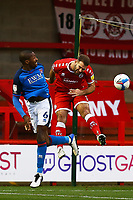 Aaron Hayden of Carlisle United heads towards goal during Crawley Town vs Carlisle United, Sky Bet EFL League 2 Football at Broadfield Stadium on 21st November 2020