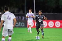 LAKE BUENA VISTA, FL - AUGUST 06: Jacori Hayes #5 of Minnesota United FC dribbles the ball during a game between Orlando City SC and Minnesota United FC at ESPN Wide World of Sports on August 06, 2020 in Lake Buena Vista, Florida.