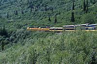 Tourist train winding it's way through the pristine Alaskan landscape, Alaska USA