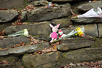 Pictured: Tributes left at the entrance to the track leading to the house that burned in Llangammarch Wells, Powys, Wales, UK. Tuesday 31 October 2017<br />