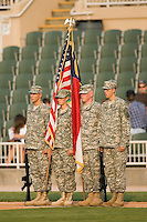 Members of the North Carolina National Guard get ready to present the colors prior to the start of the South Atlantic League baseball game between the Lake County Captains and the Kannapolis Intimidators at Fieldcrest Cannon Stadium in Kannapolis, NC, Saturday, August 11, 2007.