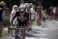 Jaques Janse van Rensburg (RSA/MTN-Qhubeka) up the Lacets de Montvernier (2C/782m/3.4km, 8.2%)<br /> <br /> stage 18: Gap - St-Jean-de-Maurienne (187km)<br /> 2015 Tour de France