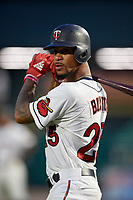 Rochester Red Wings center fielder Byron Buxton (25) on deck during a game against the Lehigh Valley IronPigs on June 30, 2018 at Frontier Field in Rochester, New York.  Lehigh Valley defeated Rochester 6-2.  (Mike Janes/Four Seam Images)