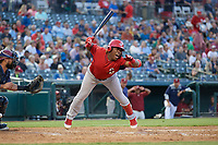 Springfield Cardinals Johan Mieses (41) is hit by a pitch during a Texas League game against the Frisco RoughRiders on May 4, 2019 at Dr Pepper Ballpark in Frisco, Texas.  (Mike Augustin/Four Seam Images)