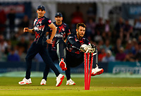 Graeme Van Buuren of Gloucestershire is run out by Qais Ahmad during Kent Spitfires vs Gloucestershire, Vitality Blast T20 Cricket at The Spitfire Ground on 13th June 2021