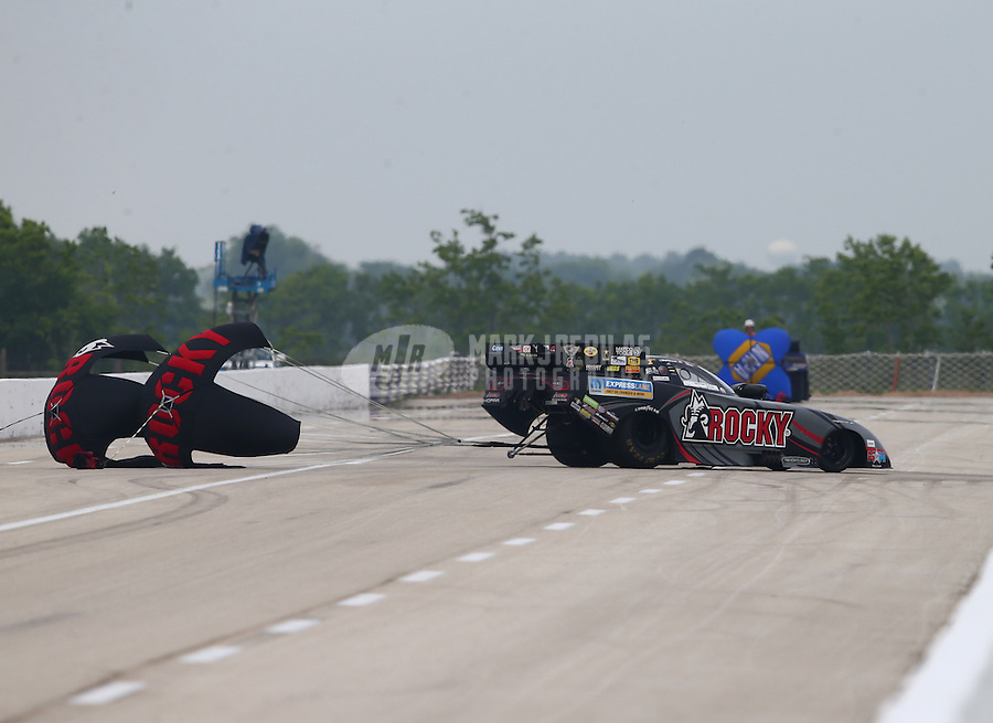 Apr 26, 2015; Baytown, TX, USA; NHRA funny car driver Matt Hagan during the Spring Nationals at Royal Purple Raceway. Mandatory Credit: Mark J. Rebilas-