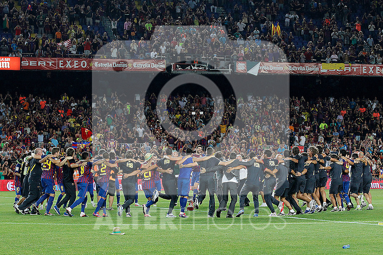 FC Barcelona's team celebrates the victory during Spanish Supercup 2nd match dacing the Catalonia tipical dance La Sardana.August 17,2011. (ALTERPHOTOS/Acero)