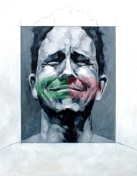 abstract illustration of man grimacing in pain