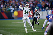 New York Jets quarterback Sam Darnold (14) passes while scrambling during an NFL football game against the Buffalo Bills, Sunday, December 9, 2018, in Orchard Park, N.Y.  (Mike Janes Photography)