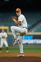 Texas Longhorns relief pitcher Mason Bryant (58) in action against the Missouri Tigers in game eight of the 2020 Shriners Hospitals for Children College Classic at Minute Maid Park on March 1, 2020 in Houston, Texas. The Tigers defeated the Longhorns 9-8. (Brian Westerholt/Four Seam Images)