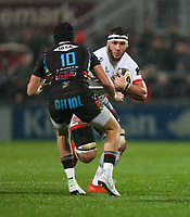 Friday 1st November 2019 | Ulster Rugby vs Zebre Rugby<br /> <br /> Marcell Coetzee is tackled by Carlo Canna during the PRO14 Round 5 clash between Ulster Rugby and Zebre Rugby at Kingspan Stadium, Ravenhill Park, Belfast, Northern Ireland. Photo by John Dickson / DICKSONDIGITAL