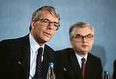 Prime Minister John Major and Norman Lamont, Chancellor of the Exchequer, at a Conservative Party pre-election press conference at the party HQ in Smith Square, London.