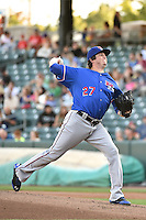 Round Rock Express starting pitcher Luke Jackson (27) delivers a pitch to the plate against the Salt Lake Bees in Pacific Coast League action at Smith's Ballpark on August 21, 2014 in Salt Lake City, Utah.  (Stephen Smith/Four Seam Images)