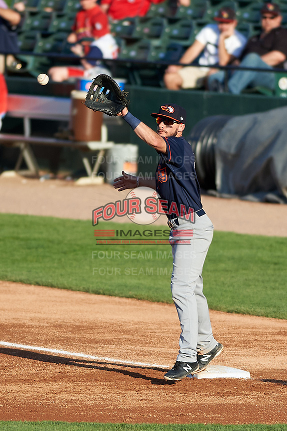 Bowling Green Hot Rods first baseman Connor Hollis (5) during a Midwest League game against the Peoria Chiefs at Dozer Park on May 5, 2019 in Peoria, Illinois. Peoria defeated Bowling Green 11-3. (Zachary Lucy/Four Seam Images)