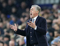 26th December 2019; Goodison Park, Liverpool, Merseyside, England; English Premier League Football, Everton versus Burnley; Everton Manager Carlo Ancelotti reacts to the action  - Strictly Editorial Use Only. No use with unauthorized audio, video, data, fixture lists, club/league logos or 'live' services. Online in-match use limited to 120 images, no video emulation. No use in betting, games or single club/league/player publications