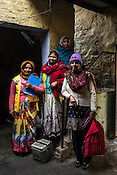 (from Left to right): Ranjana Tyagi (39), Poonam Devi (35), Savitri Tyagi (50) and their Auxiliary Nurse Midwife, Prassana Kumari Nair (51) poses for a photograph during a house to house polio vaccination drive in Basantpur Sainthly village in Ghaziabad, Uttar Pradesh, India.