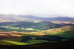 Farm buildings in valley, Scottish Highlands, Cairngorms National Park, Scotland, United Kingdom