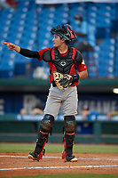 Dylan King (25) of American Heritage High School in Delray Beach, FL during the Perfect Game National Showcase at Hoover Metropolitan Stadium on June 20, 2020 in Hoover, Alabama. (Mike Janes/Four Seam Images)