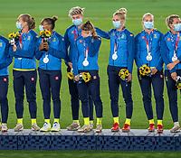 YOKOHAMA, JAPAN - AUGUST 6: Sweden jstands on the podium at International Stadium Yokohama on August 6, 2021 in Yokohama, Japan.