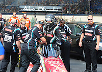 Jul, 10, 2011; Joliet, IL, USA: NHRA top fuel dragster crew members for driver Rod Fuller during the Route 66 Nationals at Route 66 Raceway. Mandatory Credit: Mark J. Rebilas-