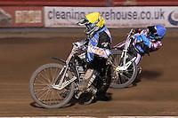 Heat 12: Richie Worrall (yellow) and Robert Mear - Vortex Lakeside Hammers vs Kings Lynn Stars - Sky Sports Elite League Speedway at Arena Essex Raceway, Purfleet - 23/04/13 - MANDATORY CREDIT: Gavin Ellis/TGSPHOTO - Self billing applies where appropriate - 0845 094 6026 - contact@tgsphoto.co.uk - NO UNPAID USE.