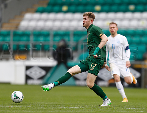 15th November 2020; Tallaght Stadium, Dublin, Leinster, Ireland; 2021 Under 21 European Championships Qualifier, Ireland Under 21 versus Iceland U21; Nathan Collins plays the ball away for Republic of Ireland