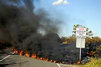Warning sign, Lava flow on highway 130, Near Hawaii, USA Volcanoes National Park, Kalapana, Hawaii, USA, The Big Island of Hawaii, USA