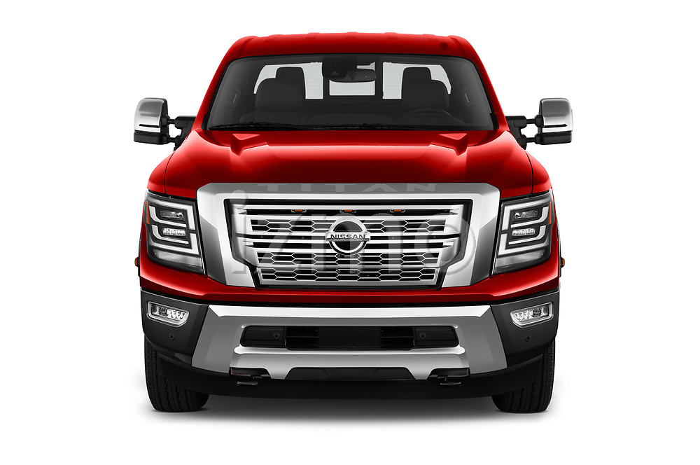 Car photography straight front view of a 2021 Nissan Titan-XD Platinum-Reserve 4 Door Pick-up Front View