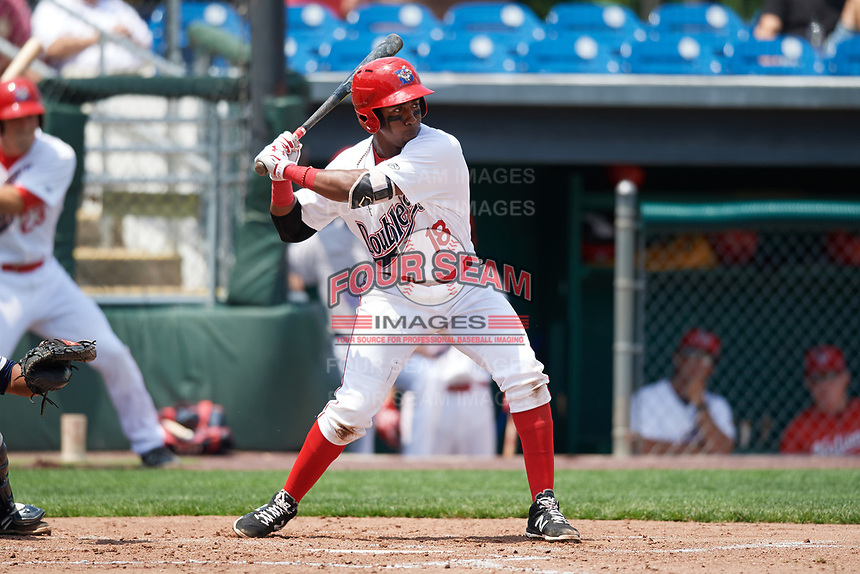 Auburn Doubledays third baseman Omar Meregildo (18) at bat during the first game of a doubleheader against the Mahoning Valley Scrappers on July 2, 2017 at Falcon Park in Auburn, New York.  Mahoning Valley defeated Auburn 3-0.  (Mike Janes/Four Seam Images)