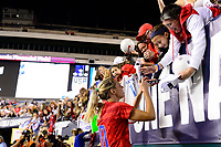 PHILADELPHIA, PA - AUGUST 29: Allie Long #20 of the United States signs autographs during a game between Portugal and USWNT at Lincoln Financial Field on August 29, 2019 in Philadelphia, PA.