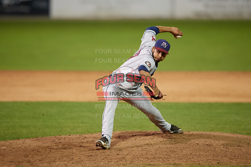Mahoning Valley Scrappers relief pitcher Randy Valladares (51) delivers a pitch during the second game of a doubleheader against the Batavia Muckdogs on August 28, 2017 at Dwyer Stadium in Batavia, New York.  Mahoning Valley defeated Batavia 2-0.  (Mike Janes/Four Seam Images)