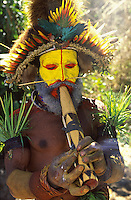 Oceania, Papua New Guinea, highland festival, warrior smoking portrait
