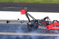 Jul 19, 2020; Clermont, Indiana, USA; NHRA top fuel driver Steve Torrence during the Summernationals at Lucas Oil Raceway. Mandatory Credit: Mark J. Rebilas-USA TODAY Sports