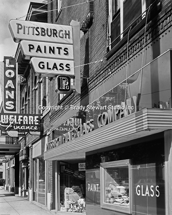 Client: Pittsburgh Plate Glass Company<br /> Ad Agency: W. Craig Chambers<br /> Contact:<br /> Product: Pittsburgh Paints<br /> Location:  Location photography at PPG Paints Store on the South Side.<br /> <br /> A view of the exterior of a Pittsburgh Paint store on the South Side.