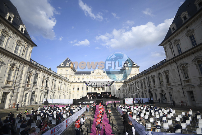 Inside the Cortile d'Onore of the Castello del Valentino location for the team presentation of the 2021 Giro d'Italia, on the occasion of the 160th anniversary of the Unification of Italy, Turin, Italy. 6th May 2021.  <br /> Picture: LaPresse/Fabio Ferrari | Cyclefile<br /> <br /> All photos usage must carry mandatory copyright credit (© Cyclefile | LaPresse/Fabio Ferrari)