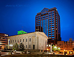 Twilight view of Courthouse Plaza, Downtown Dayton Ohio. View of the old and the new. Fifth Third Bank Center shown with the Arcade entrance and the Old Courthouse. A peek of the American Building and PNC shown.