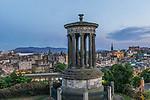 Europe, Great Britain, Scotland, Edinburgh, Sunset Looking Down on the Stewart Monumnet & the City From Calton Hill