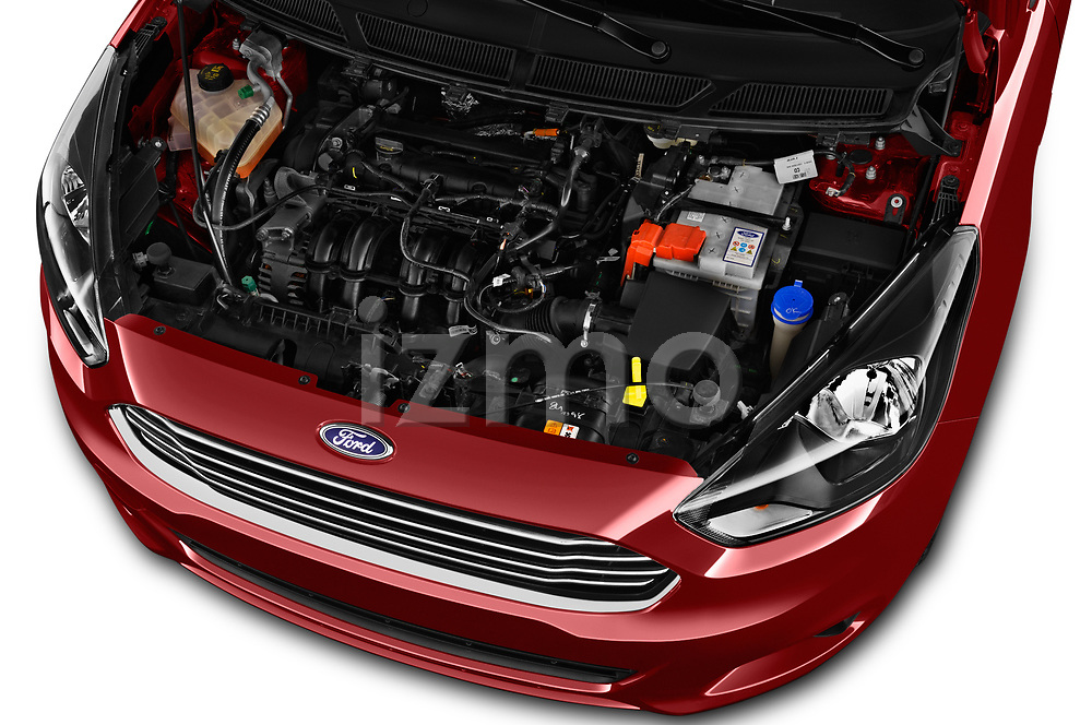 Car Stock 2017 Ford KA+ Ultimate 5 Door Hatchback Engine  high angle detail view